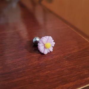 Purple flower cartilage piercing